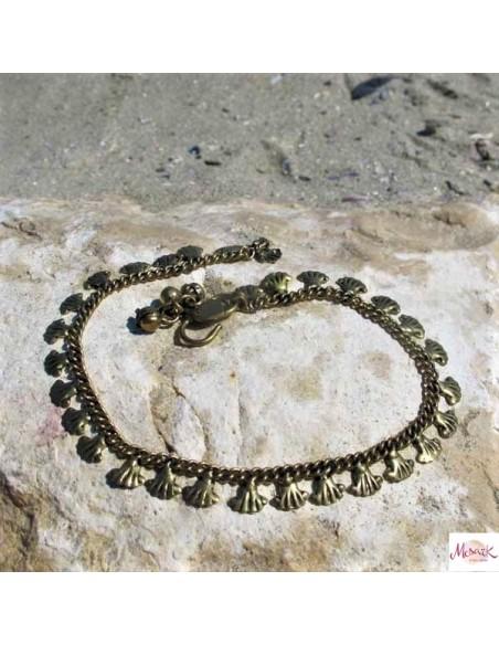 Chaine de cheville en laiton motifs coquillages