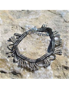 Chaine de chevilles à perles argentées 2