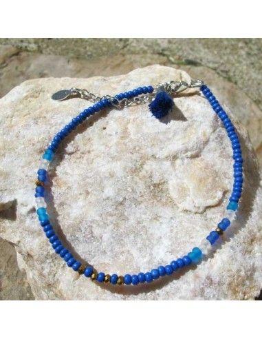 Bracelet de cheville fin perles bleues