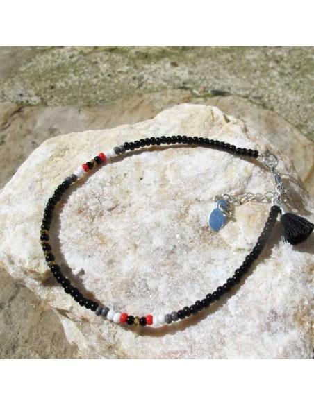 Chaine de cheville perles noires