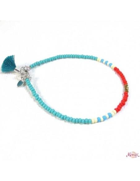 Chaine de cheville colorée turquoise et rouge - Mosaik bijoux indiens