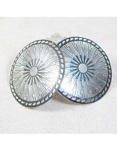 Boucles d'oreilles plateau métal argenté