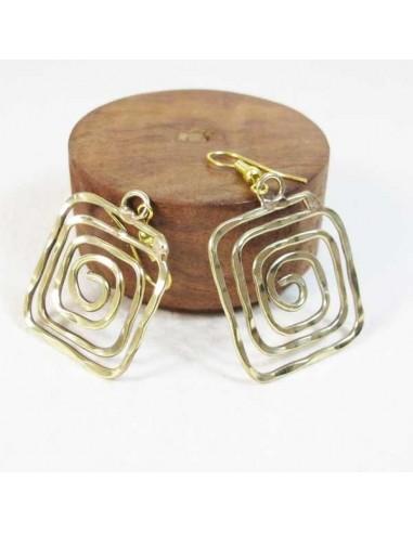 Boucles d'oreilles  carrées dorées