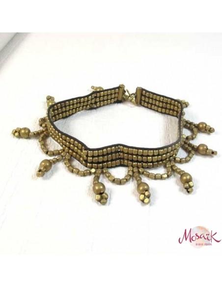 Large chaine de cheville perles dorées