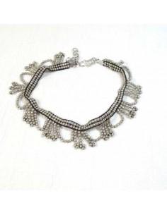 Chaine de chevilles à perles argentées