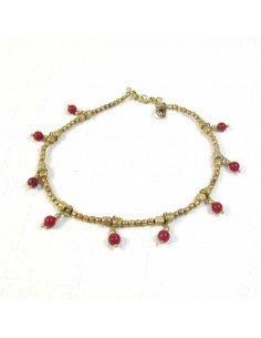 Chaine de cheville perles dorées et rouges