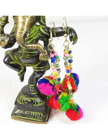 Boucles d'oreilles pompons colorés - Mosaik bijoux indiens