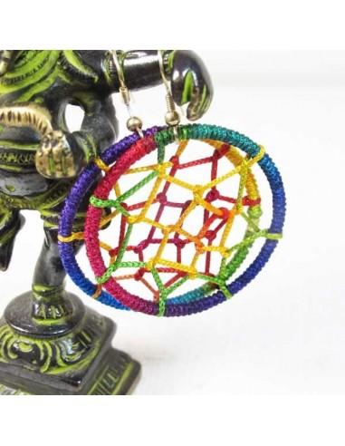 Boucles d'oreilles attrappe rêve multicolor