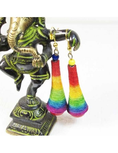 Boucles d'oreilles cônes multicolores