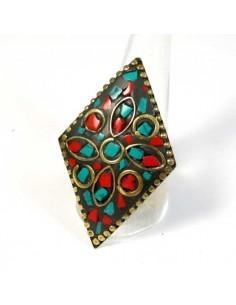 bague tibétaine losange rouge et turquoise