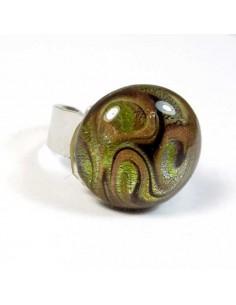 bague ronde en pâte de verre style murano