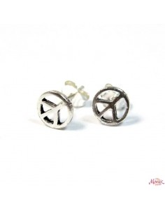 Clous d'oreilles argent peace and love