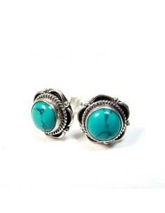 Clous d'oreille argent et turquoise