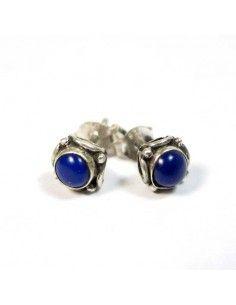 Clous d'oreilles argent et lapis lazuli