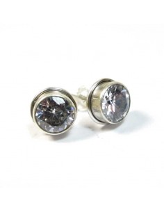 Clous d'oreilles argent et zirconium