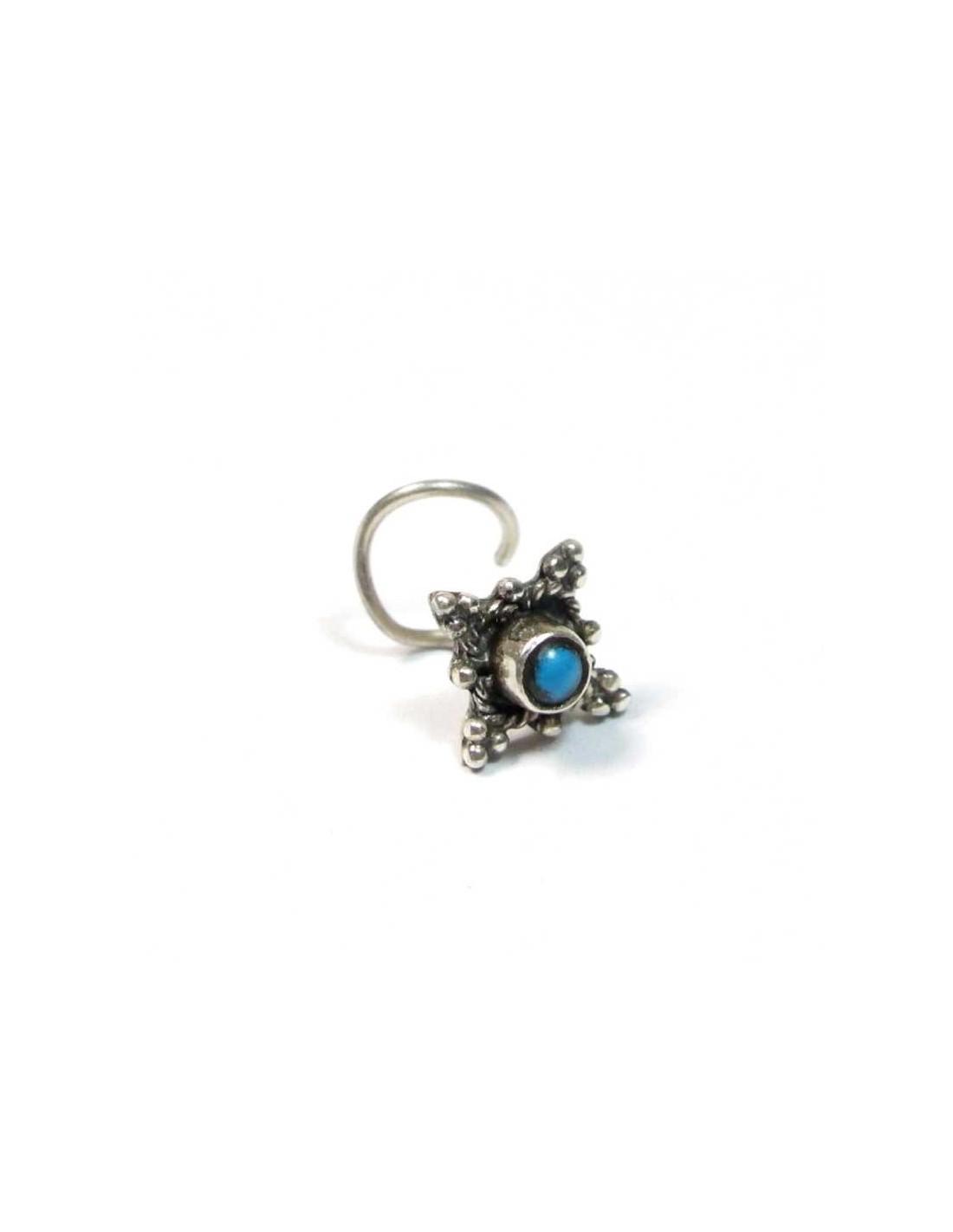 piercing argent et turquoise piercing traditionnel indien co41. Black Bedroom Furniture Sets. Home Design Ideas