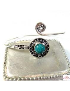 Bracelet métal argenté et turquoise