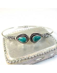 Bracelet argenté 2 turquoises