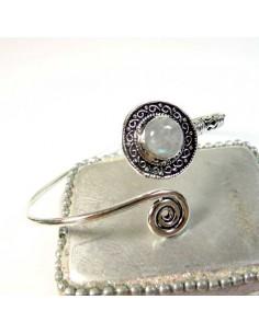 Bracelet métal argenté et pierre de lune
