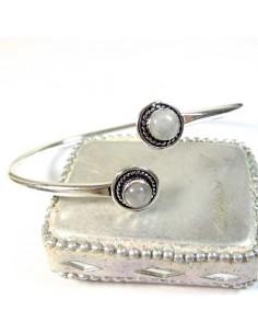 Bracelet métal argenté et pierres de lune