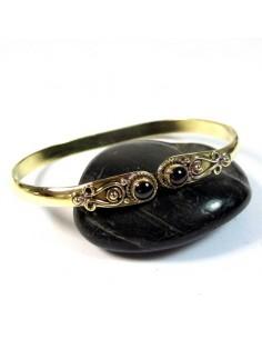Bracelet doré ajustable fin et onyx - Mosaik bijoux indiens