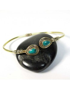 Bracelet laiton 2 turquoises