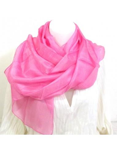 d9cf018bef1 Foulard soie rose bonbon couleur unie - boutique Mosaik - fs90