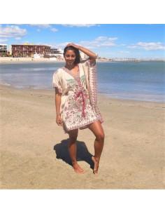 Tunique indienne beige à motifs