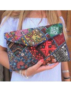 Pochette tissu indien colorée - Mosaik bijoux indiens 2