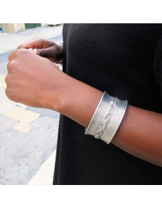 Bracelet métal argenté tressé