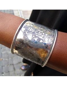 Manchette Bouddha métal argenté