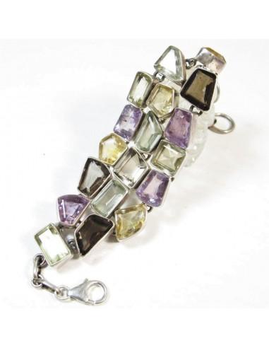 Gros bracelet argent et pierres semi précieuses - Mosaik  bijoux indiens
