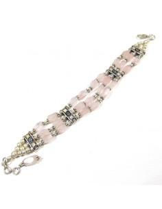Bracelet argent et quartz rose 2