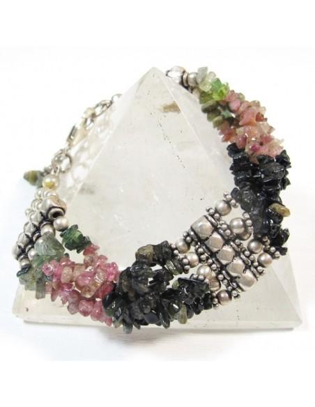 Large bracelet argent et tourmaline - Mosaik  bijoux indiens
