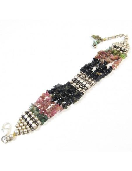 Bracelet en tourmaline et argent - Mosaik  bijoux indiens