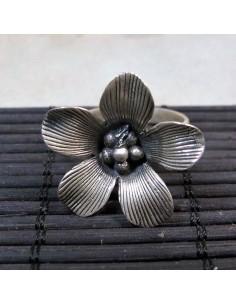 bague argent fleur