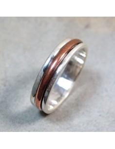 anneau argent et cuivre anti stress