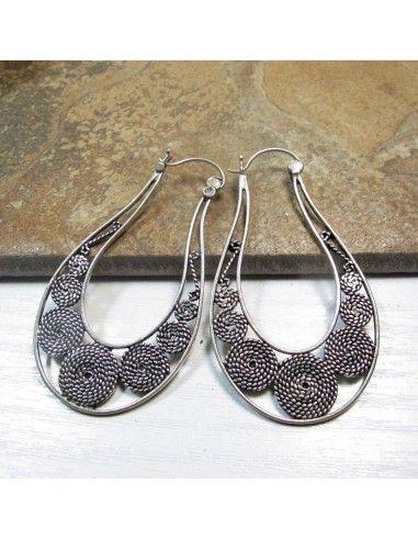 boucles d'oreilles argent allongées