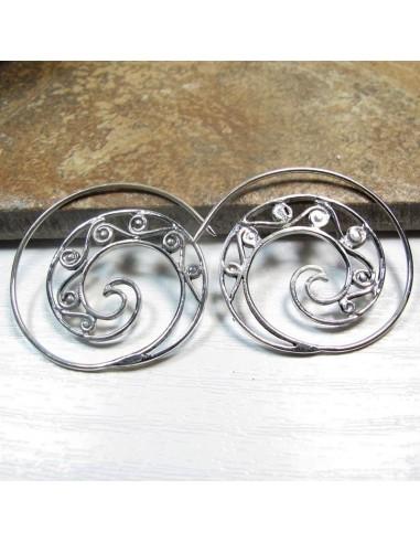 Boucles d'oreilles spirales argent travaillées -  Mosaik bijoux indiens