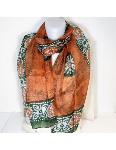3bd2d025922 Foulard soie kaki et orange long - boutique Mosaik - fs108