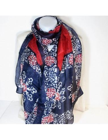 Foulard bleu marine et rouge