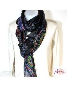 Foulard en soie noir à motifs