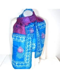 Foulard en soie violet et turquoise
