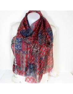 Foulard en soie rouge motifs cachemires