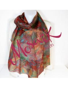 Foulard en soie motifs fleurs