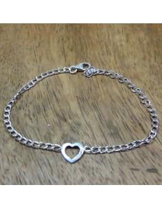 Bracelet fin en argent et coeur - Mosaik  bijoux indiens