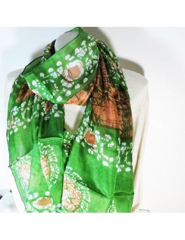 Foulard en soie vert et orange