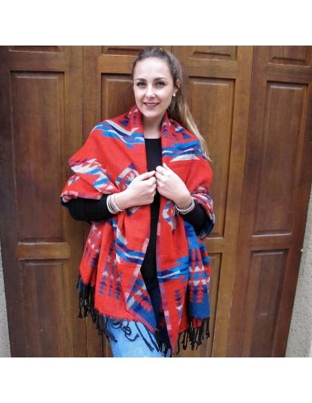 Grande étole rouge motifs aztèques