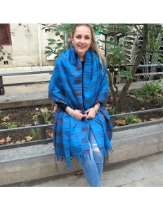 Large écharpe turquoise à rayures 2