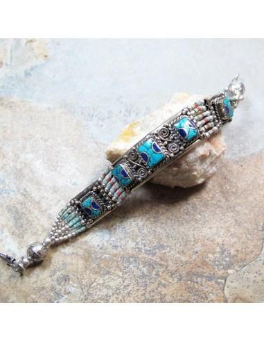 Bracelet ethnique bleu et turquoise